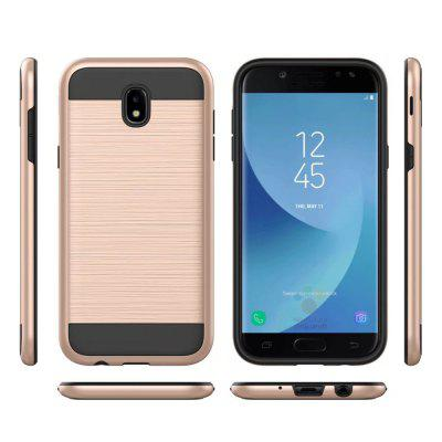 Metal Wiredrawing Soft TPU Hybrid Shockproof Hard Armor Case for Samsung Galaxy J7