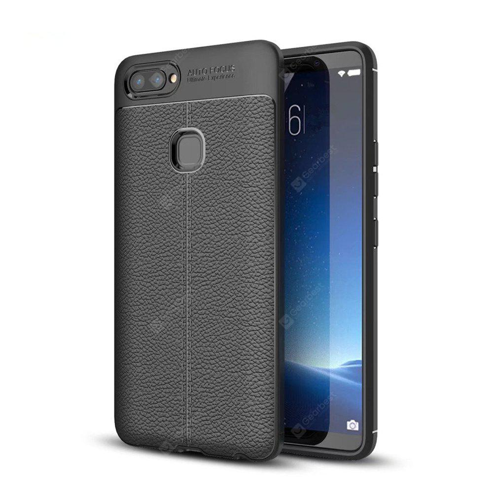 Contracted Leather Business Litchi Pattern PU Soft TPU Cover Case para Vivo X20