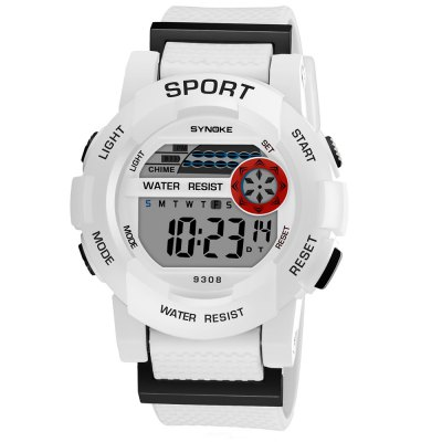 SYNOKE 9308 Student Multifunction Sports Electronic WatchKids Watches<br>SYNOKE 9308 Student Multifunction Sports Electronic Watch<br><br>Band material: PU<br>Band size: 22.2 x 2.007cm<br>Brand: Synoke<br>Case material: ABS<br>Clasp type: Pin buckle<br>Dial size: 4.372 x 4.372 x 1.544cm<br>Display type: Digital<br>Movement type: Digital watch<br>Package Contents: 1 x Watch<br>Package size (L x W x H): 12.50 x 8.00 x 9.00 cm / 4.92 x 3.15 x 3.54 inches<br>Package weight: 0.0412 kg<br>Product size (L x W x H): 22.20 x 4.37 x 1.54 cm / 8.74 x 1.72 x 0.61 inches<br>Product weight: 0.0345 kg<br>Shape of the dial: Round<br>Watch mirror: Acrylic<br>Watch style: Trends in outdoor sports<br>Watches categories: Children table<br>Water resistance: 30 meters