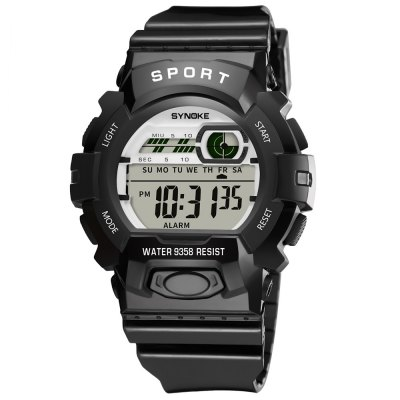 SYNOKE 9358 Waterproof Multi-function New Student Sports Electronic WatchKids Watches<br>SYNOKE 9358 Waterproof Multi-function New Student Sports Electronic Watch<br><br>Band material: PU<br>Band size: 24.1 x 1.533cm<br>Brand: Synoke<br>Case material: ABS<br>Clasp type: Pin buckle<br>Dial size: 4.557 x 4.557 x 1.58cm<br>Display type: Digital<br>Movement type: Digital watch<br>Package Contents: 1 x Watch<br>Package size (L x W x H): 12.50 x 8.00 x 9.00 cm / 4.92 x 3.15 x 3.54 inches<br>Package weight: 0.0426 kg<br>Product size (L x W x H): 24.10 x 4.56 x 1.58 cm / 9.49 x 1.8 x 0.62 inches<br>Product weight: 0.0356 kg<br>Shape of the dial: Round<br>Special features: Alarm Clock, Luminous, Stopwatch, Date<br>Watch mirror: Acrylic<br>Watch style: Trends in outdoor sports<br>Watches categories: Children table<br>Water resistance: 30 meters