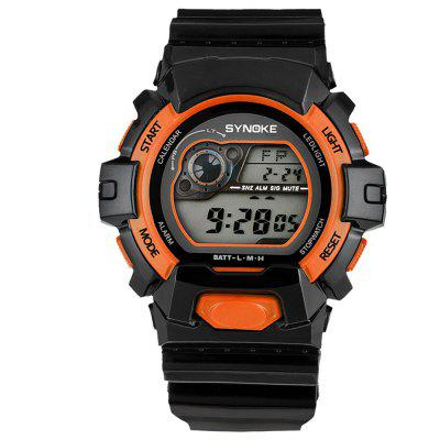 SYNOKE 67556 Sports Fashionable Man Electronic WatchLED Watches<br>SYNOKE 67556 Sports Fashionable Man Electronic Watch<br><br>Band material: PU<br>Band size: 27 x 2.193cm<br>Brand: Synoke<br>Case material: ABS<br>Clasp type: Pin buckle<br>Dial size: 5.252 x 5.252 x 1.677cm<br>Display type: Digital<br>Hour formats: 12/24 Hour<br>Movement type: Digital watch<br>Package Contents: 1 x Watch<br>Package size (L x W x H): 12.50 x 8.00 x 9.00 cm / 4.92 x 3.15 x 3.54 inches<br>Package weight: 0.0542 kg<br>People: Male table<br>Product size (L x W x H): 27.00 x 5.25 x 1.68 cm / 10.63 x 2.07 x 0.66 inches<br>Product weight: 0.0514 kg<br>Shape of the dial: Round<br>Special features: Alarm Clock, Luminous, Stopwatch, Date<br>Watch mirror: Acrylic<br>Watch style: Outdoor Sports<br>Water resistance: 30 meters