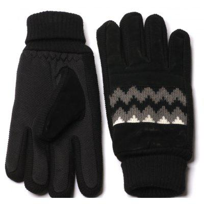 Winter Warn Knit Pattern And Cuff Men Gloves With Non Slip Rubber