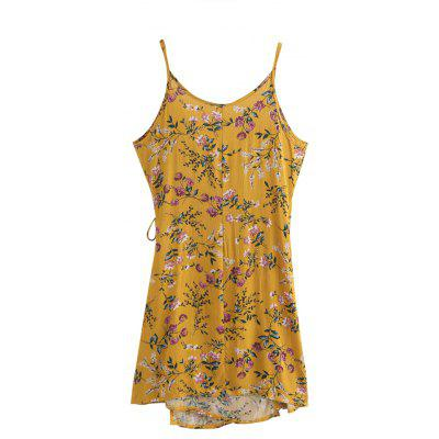 Floral Print Random Wrap Self Tie Cami Dress