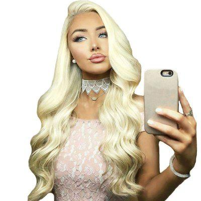 Long Blonde Hair Lace Front Wig Synthetic Heat Restaurant long wavy blonde highlight lace front synthetic wig heat resistant