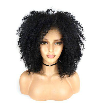 Fluffy Afro Curly with Baby Hair Synthetic Lace Front Wig 180 Density