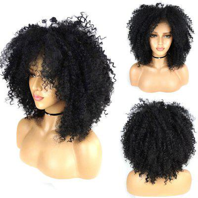 Fluffy Afro Curly with Baby Hair Synthetic Lace Front Wig 180 Density kinky curly lace front wig synthetic black woman with baby hair