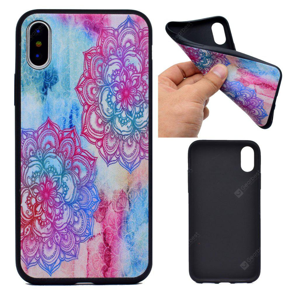 Custodia rigida in silicone per TPU con fiori rossi per iPhone X