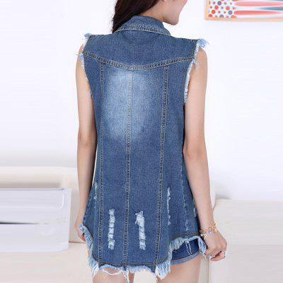 Womens Denim Vest Jacket Washed Frayed Hem Solid Denim OutwearsJackets &amp; Coats<br>Womens Denim Vest Jacket Washed Frayed Hem Solid Denim Outwears<br><br>Closure Type: Single Breasted<br>Collar: Turn-down Collar<br>Embellishment: Hole<br>Fabric Type: Broadcloth<br>Material: Cotton, Jeans<br>Model Number: S27A713<br>Package Contents: 1 x Vests<br>Pattern Type: Others<br>Shirt Length: Regular<br>Style: Fashion<br>Thickness: Standard<br>Weight: 0.3000kg