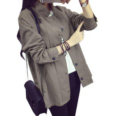Women's Biker Jacket Solid Color Button Stand Collar Jacket