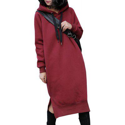 Women's Dress Casual Solid Color Hooded Plus Size Dress