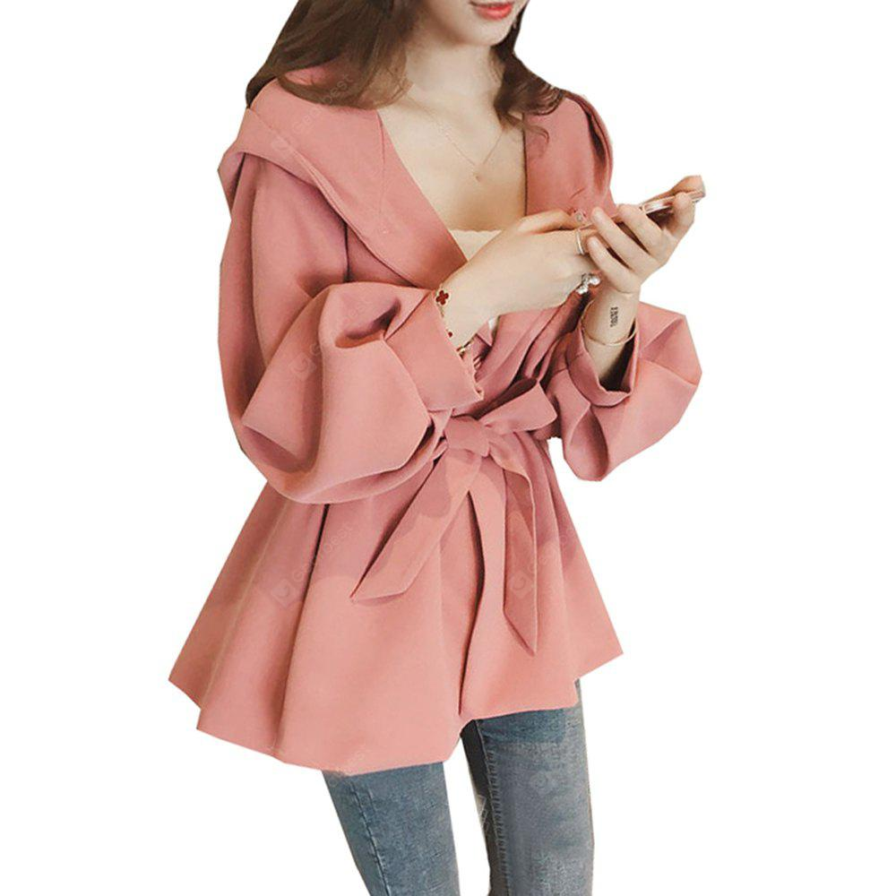 Women's Trench Coat Solid Color Bishop Sleeve Hooded Bandage Coat