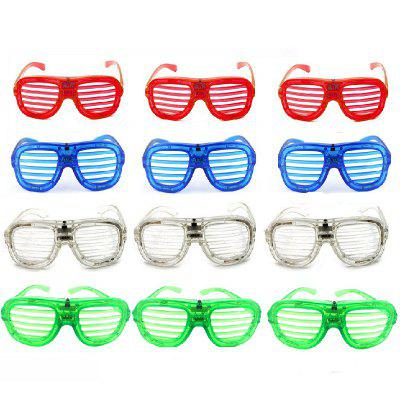 LED Light Up Slotted Shutter Show Toy Glasses 12PCS