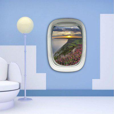 Personalized Creative Fashion 3D Plane Window Romantic Bank Sunset Home Background Wall Stickers