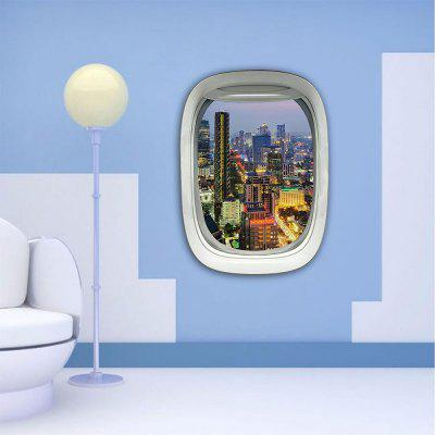 Personalized Creative Fashion 3D Plane Window City Night Home Background Wall Stickers