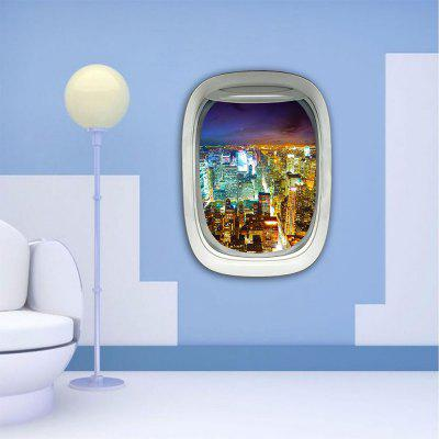 Personalized Creative 3D Plane Window City Night Home Background Wall Stickers