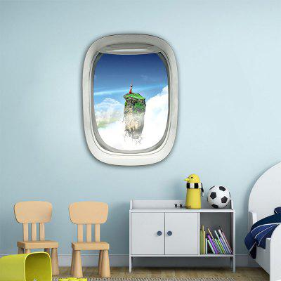 Personalized Creative 3D Airplane Window Floating Island Home Background Wall Sticker
