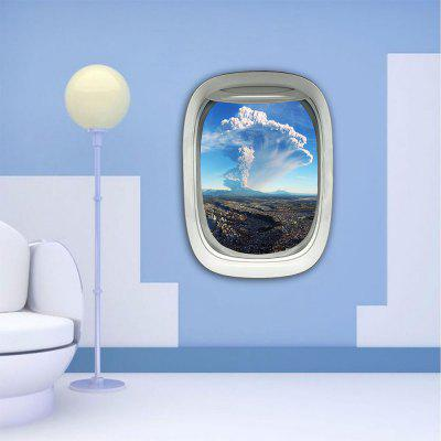 Personalized Creative 3D Plane Window Mushrooms Cloud Home Background Wall Stickers