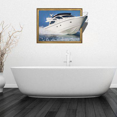 Personalized Creative Fashion 3D Traveling Yacht Home Background Wall Stickers