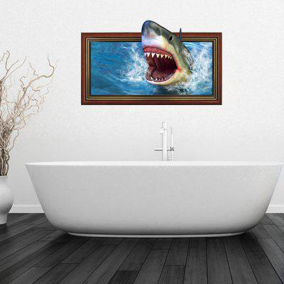3D Personalized Creative Horror Big Shark Home Background Wall Stickers
