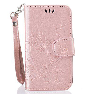 Imprint Heart Flower Wallet Leather Stand Cell Phone Cover with Magnet for Samsung Galaxy  J1(2016)