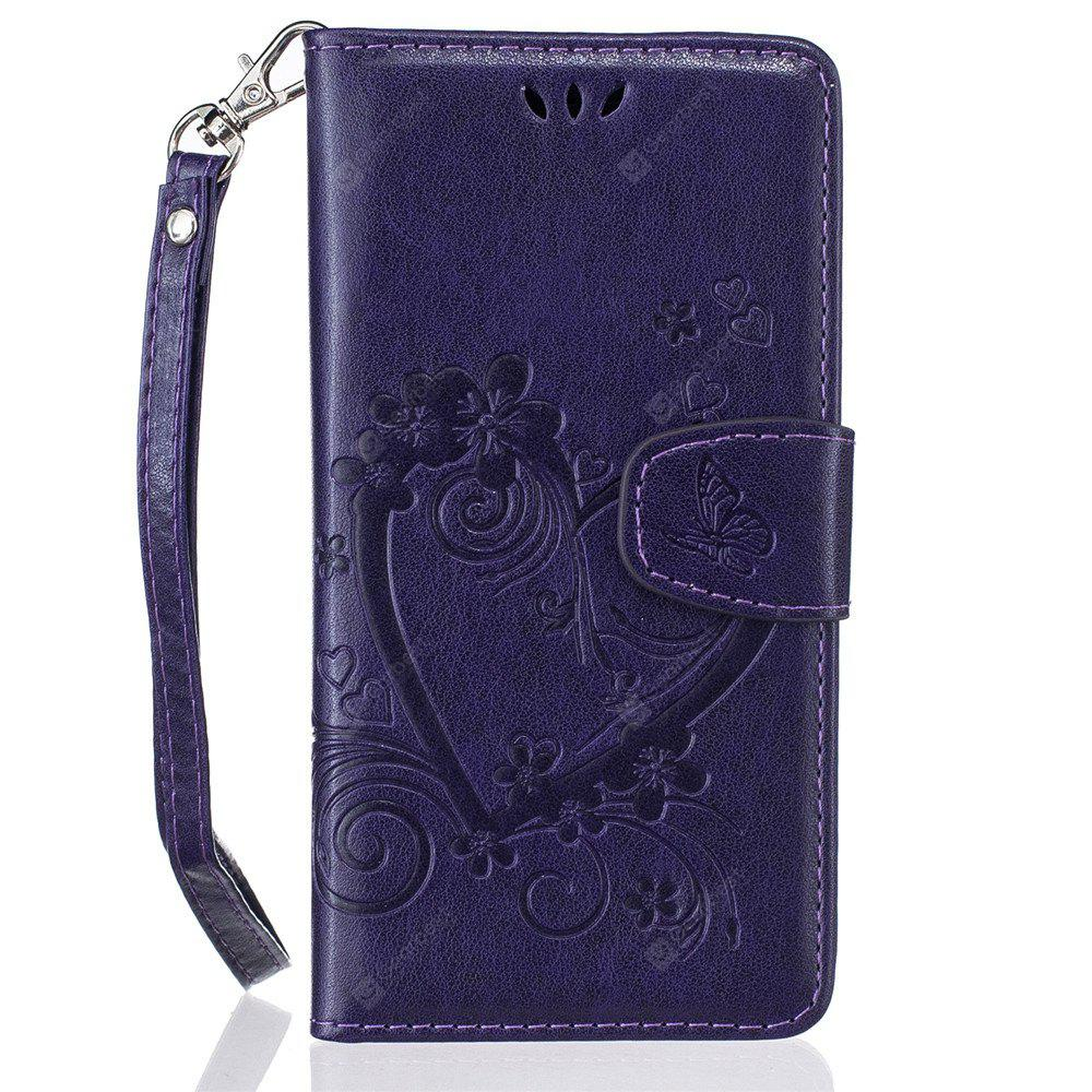 Imprint Heart Flower Wallet Leather Stand Cell Phone Cover with Magnet for Samsung Galaxy  J5 2016