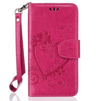 Imprint Heart Flower Wallet Leather Stand Cell Phone Cover with Magnet for Samsung Galaxy  J3 2016