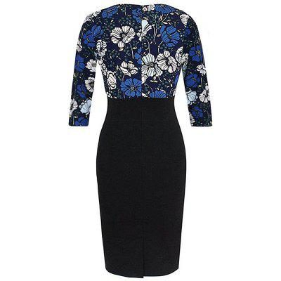 Elegant Autumn  New Style Print Patchwork Women 3/4 Sleeve Vintage Pinup Casual Work Office Party Bodycon Sheath Plus Size DressPlus Size Dresses<br>Elegant Autumn  New Style Print Patchwork Women 3/4 Sleeve Vintage Pinup Casual Work Office Party Bodycon Sheath Plus Size Dress<br><br>Dresses Length: Knee-Length<br>Elasticity: Elastic<br>Embellishment: Spliced<br>Fabric Type: Worsted<br>Material: Spandex, Polyester<br>Neckline: Round Collar<br>Package Contents: 1 x Dress<br>Pattern Type: Patchwork<br>Season: Fall<br>Silhouette: Sheath<br>Sleeve Length: 3/4 Length Sleeves<br>Style: Fashion<br>Weight: 0.3500kg<br>With Belt: No