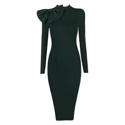 Europe Stand Hot Sale Elegant Autumn Woman O Neck Long Sleeve  Bowknot Tunic  Business Prom Party Evening Bodycon Dress