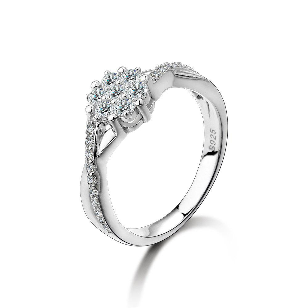 SH - STAR HARVEST 925 Anello in argento sterling con fiore in argento sterling AAA per donna