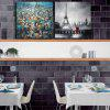 Arte feliz Handed Canvas Fashion 2PCS Building Oil Painting Wall - COR MISTURA