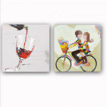 Happy Art Handed  Canvas Fashion Lover People 2PCS Oil Painting Wall