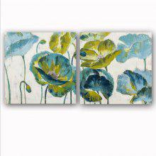 Happy Art Handed Canvas Fashion 2PCS Green Flower Oil Painting Wall