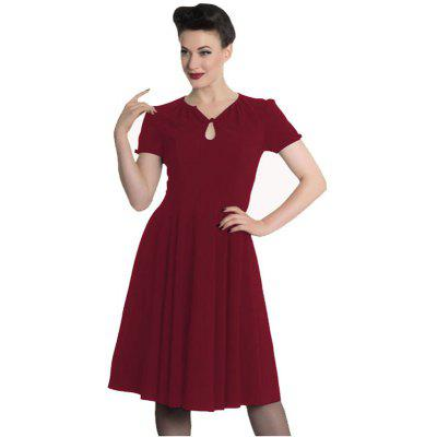 Buy Women Fashion Solid Color A Short Sleeved Dress, WINE RED, XL, Apparel, Women's Clothing, Women's Dresses for $35.70 in GearBest store