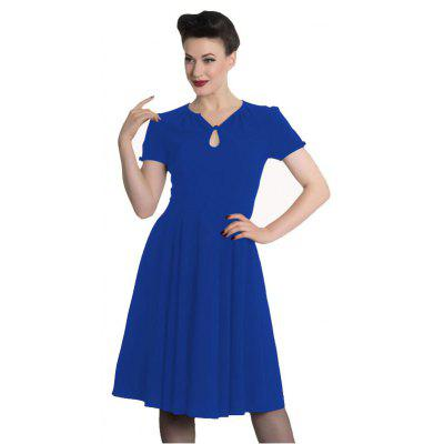 Buy Women Fashion Solid Color A Short Sleeved Dress, BLUE, L, Apparel, Women's Clothing, Women's Dresses for $35.70 in GearBest store