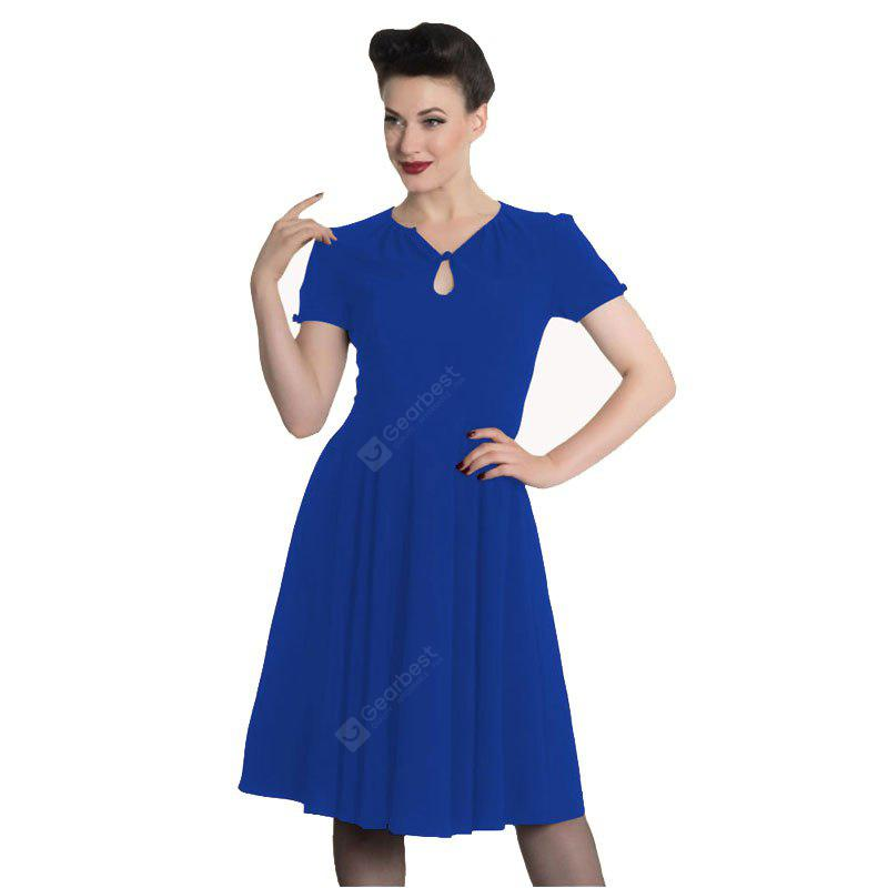 Women Fashion Solid Color A Short Sleeved Dress, BLUE, S, Apparel, Women's Clothing, Women's Dresses