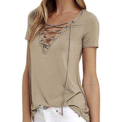 Women's Sexy Slim V-Neck Strap Solid Color T-Shirt