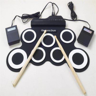 Iword G3002 Portable Roll Up Silicone Digital Drum With Drum Stick  Pedal Supports USB MIDI Output