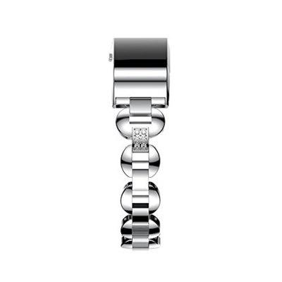 Fitbit Charge 2 Bands Small Large Metal Loop Stainless Steel Metal Bracelet Strap with Unique Magnet Lock Accessories for  HR Fitness Tracker