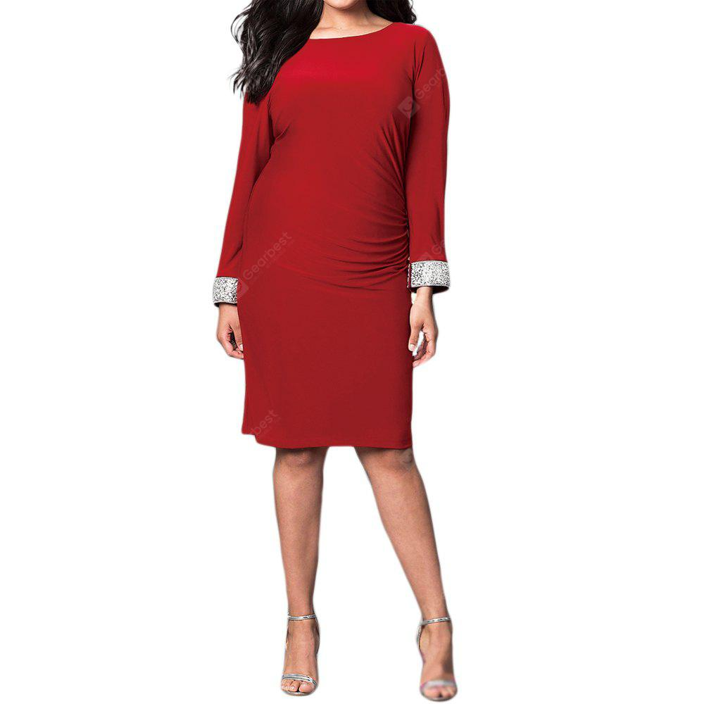 Runder Kragen Fashion Long Sleeve Tau zurück Kleid
