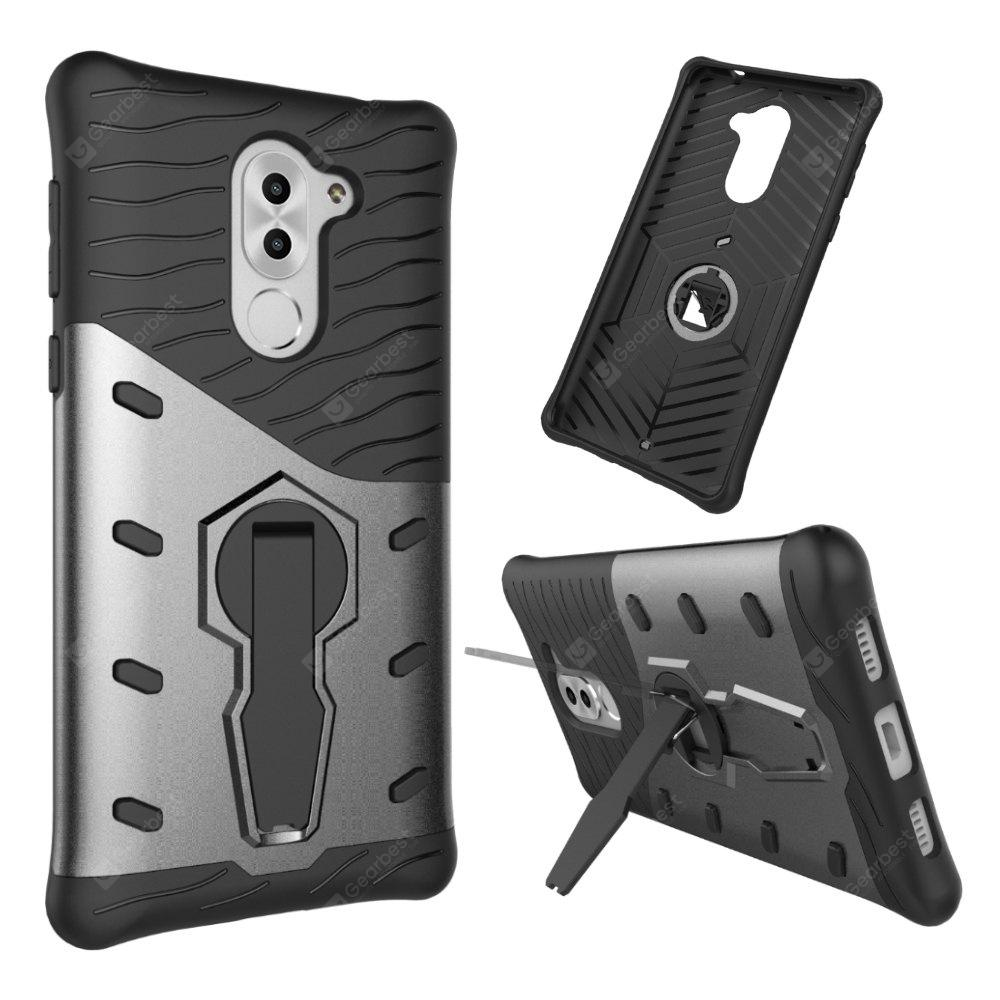 Shockproof with Stand 360 Rotation Back Cover Contrast Color Hard PC Case for Honor 6x / Mate 9 Lite / GR5 (2017)
