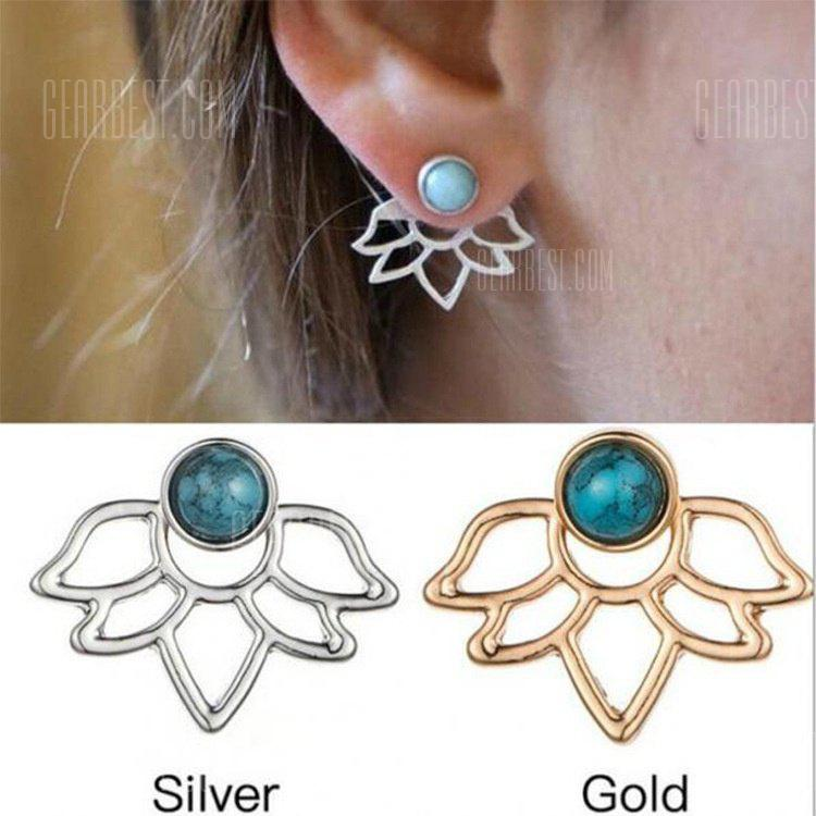 New Fashion WomenTurquoise Jewelry Orecchini Earpins Double Lotus Blue Gems