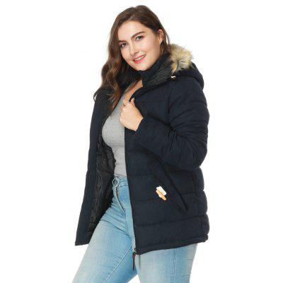 Autumn Winter Collars Cotton-Padded Clothes Plus Size Medium Long Hooded Jacket