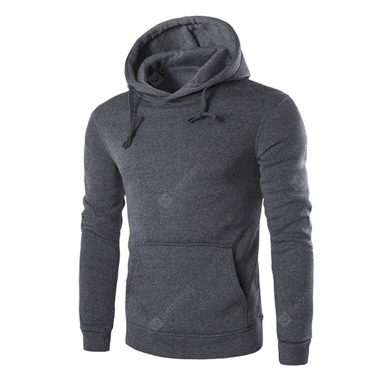 DARK GRAY 3XL Men'S Long Sleeved Hoodie