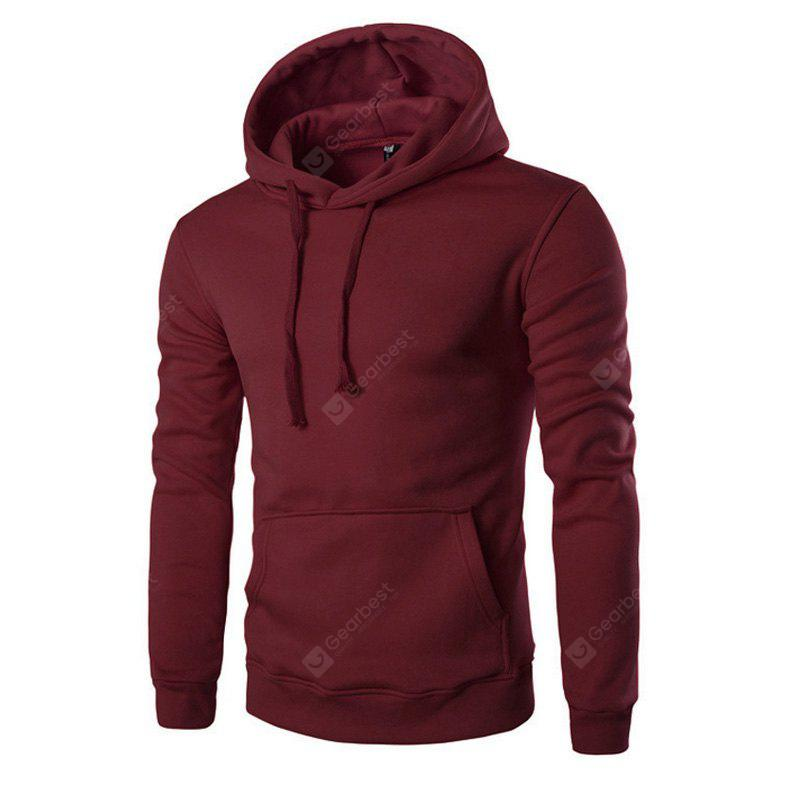 WINE RED XL Men'S Long Sleeved Hoodie