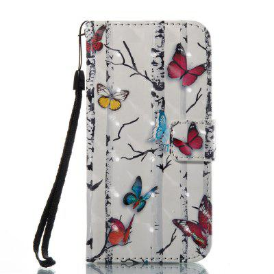 3D Painted Color Butterfly Leather Case for iPhone 8
