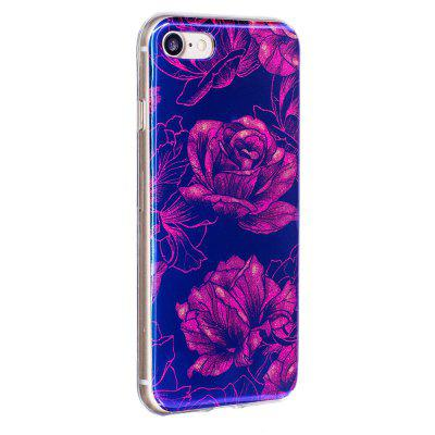 Blue Glitter Peony Pattern Phone Case for iPhone 8