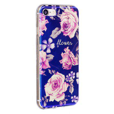 Blue Glitter Pink Peony Pattern Phone Case for iPhone 8