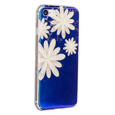 Blue Glitter Chrysanthemum Pattern Phone Case para iPhone 8