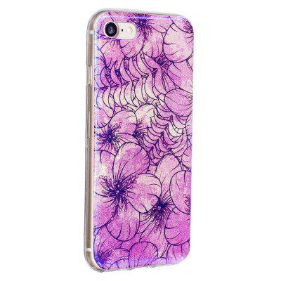 Blue Glitter Pink Flowers Pattern Phone Case for iPhone 8