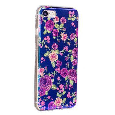Blue Glitter Rose Pattern Phone Case for iPhone 8